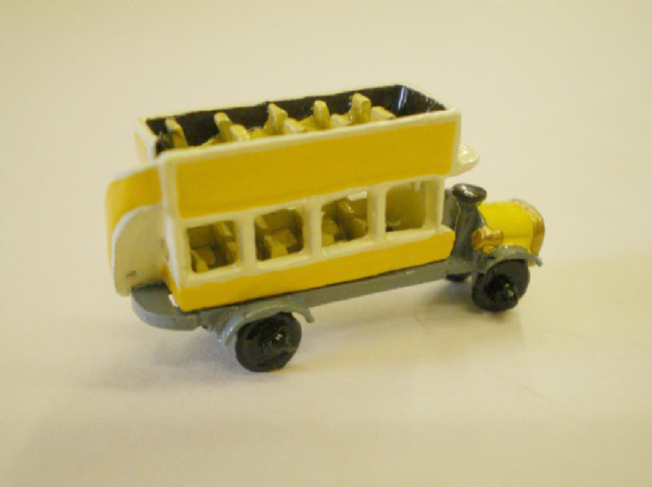 Minnie Maria Open Topped Bus. Handmade Pewter Miniature.